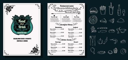 Restaurant Food Menu Vintage Design with Chalkboard Background vector format eps10 版權商用圖片 - 68634384