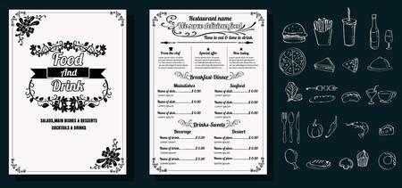Restaurant Food Menu Vintage Design with Chalkboard Background vector format eps10 版權商用圖片 - 68634383