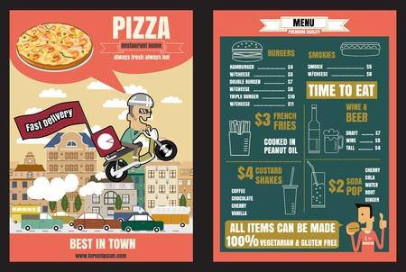 Brochure or poster Restaurant fast foods pizza menu with people vector format eps10
