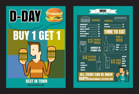 Brochure o poster Ristorante cibi veloci menu hamburger acquistare 1 ottenere 1 formato vettoriale eps10 Archivio Fotografico - 68634380