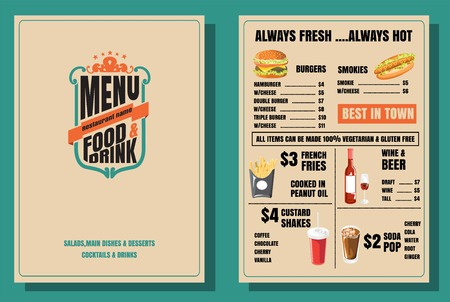Restaurant Food Menu Vintage Design with Background vector format eps10 版權商用圖片 - 68634377