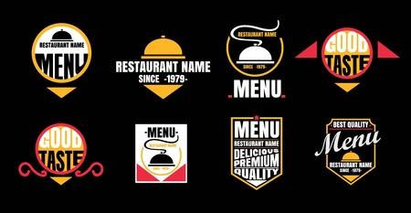 Etichette ristorante situato - isolato su sfondo nero - illustrazione vettoriale, Graphic Design modificabile Per La Progettazione Archivio Fotografico - 68634365