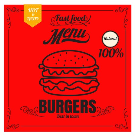 Restaurant Fast Foods menu burger on red background vector format eps10