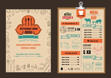 Restaurant Food Menu Design with Chalkboard Background 向量圖像