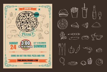 Vintage vector pizza party flyer invitation template design 版權商用圖片 - 68634633