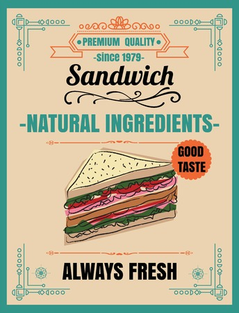 Vintage Poster.sandwichmenu; chalkboard; food; board; chalk; vector; drinks; black; retro; sketch; icon; drawing; cafe; cooking; flyer; dining; bbq; ornament; dishes; dessert; art; cook; background; bar; design; poster; grill; card; idea; lunch; cover; de