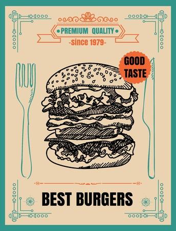 Ristorante Fast food Menu di hamburger sulla lavagna Archivio Fotografico - 71133801