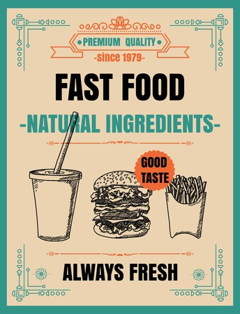 Vintage Poster.fast foodmenu. Set on the chalkboard.Design in retro style 版權商用圖片 - 71133803