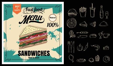 La pizza fast food menù sulla lavagna Archivio Fotografico - 71133804