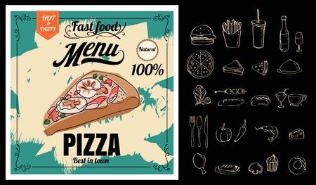 Restaurant Fast Foods menu pizza on chalkboard 向量圖像