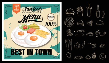 Vintage Poster. Breakfast menu. Set on the chalkboard.Design in retro style 向量圖像