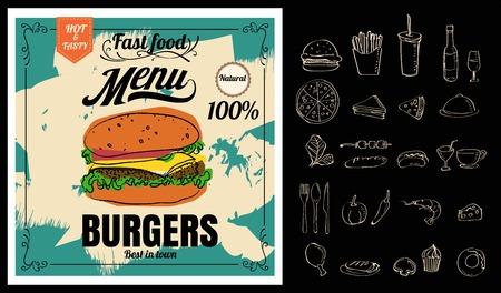 Ristorante Fast Foods menu hamburger sulla lavagna formato vettoriale eps10 Archivio Fotografico - 71133807
