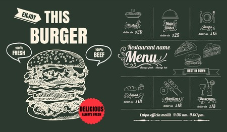 Restaurant Food Burger Menu Design with Chalkboard Ilustracja