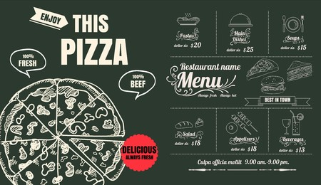Restaurant Food Pizza Menu Design with Chalkboard Background