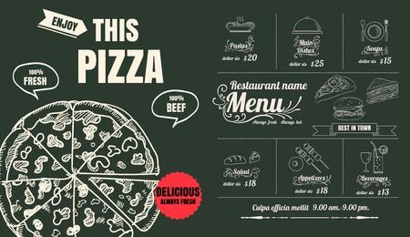 Ristorante Pranzo Cucina Menu Design con Sfondo Lavagna Archivio Fotografico - 71133811