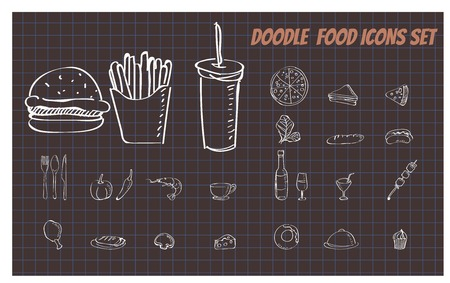 Set of Doodle fast food illustration vector format Vettoriali