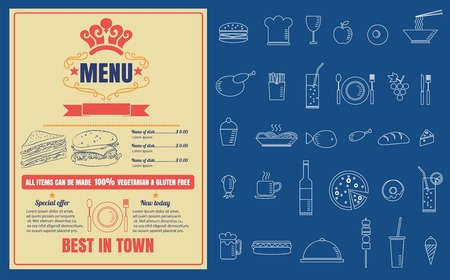 Restaurant Fast Foods menu op bord vector formaat Stock Illustratie