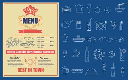 Restaurant Fast Foods menu on chalkboard vector format