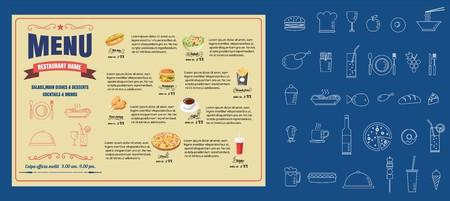 Ristorante menu cibo Menu di progettazione vettoriale Archivio Fotografico - 71968225