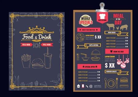 Restaurant Food Menu Design with Chalkboard Background Vettoriali