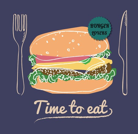 Restaurant Fast Foods burger menu on chalkboard vector format eps10 Ilustracja
