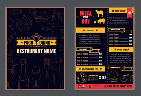 Brochure or poster Restaurant  food menu with Chalkboard Background vector format Ilustracja