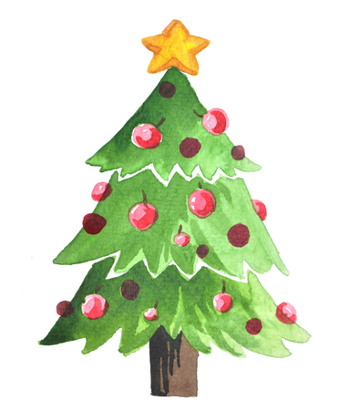 Christmas tree Santa Clause. New Year Greeting Card.  Christmas decoration. Festive christmas postcard.watercolor painting,watercolour xmas on white background Archivio Fotografico