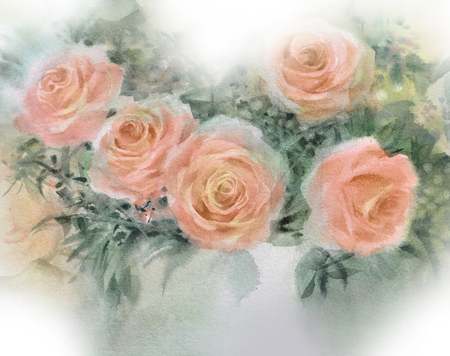 Arancione rosa acquerello dipinto a mano Archivio Fotografico - 77666171