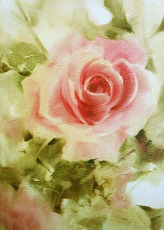 pink roses oil color on canvas.valentine Greeting Card.  Festive love postcard.oil color painting,oil colour hand painted Archivio Fotografico