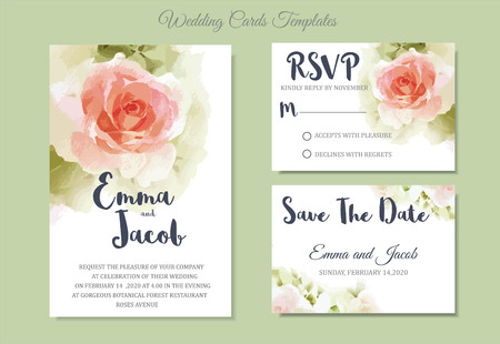 Vintage style Wedding Invitation pink rose watercolor hand drawn. save the date card design.vector template set.invite card design.Greeting wedding invitation.Pink rose watercolour style frame print