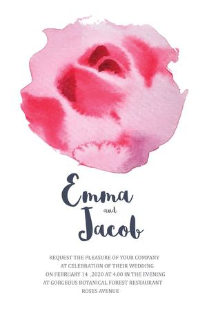 Wedding Invitation pink rose watercolor hand drawn. save the date card design.vector template set.invite card design.Greeting wedding invitation.Pink rose watercolour style frame print