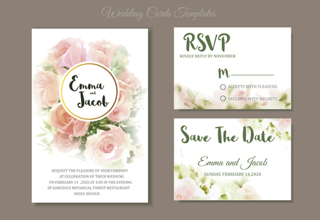 Vintage style Wedding Invitation pink rose watercolor hand drawn. save the date card design.vector template set.invite card design.Greeting wedding invitation.PinVintage style Wedding Invitation pink roses watercolor hand drawn. save the date card design.vector template set.invite card design.Greeting Floral wedding invitation.Pink rose watercolour style frame printk rose watercolour style frame print Ilustracja