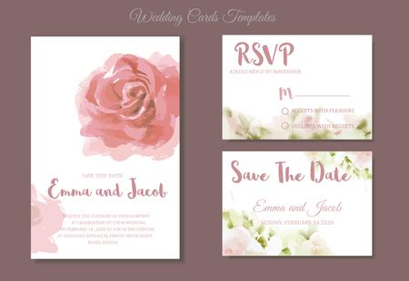 Pink roses watercolour style frame print.Vintage style Wedding Invitation pink roses watercolor hand drawn. save the date card design.vector template set.invite card design.Greeting Floral wedding invitation. Ilustracja