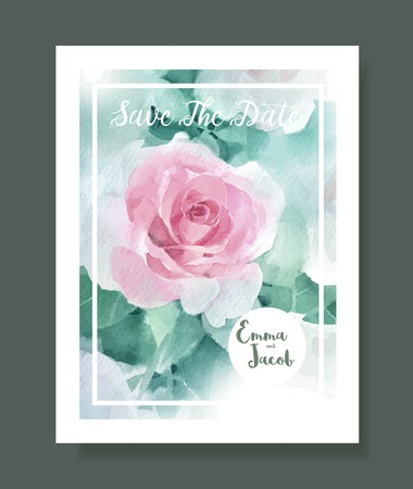 Pink roses watercolour style frame print.Vintage style Wedding Invitation pink roses watercolor hand drawn. save the date card design.vector template set.invite card design.Greeting Floral wedding invitation. Stock Illustratie