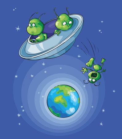 Aliens flew near the Earth and one of them dropped out of flying saucer. Vector