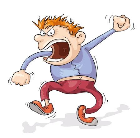 persona enojada: Un hombre enojado por todo el mundo está gritando. Vectores