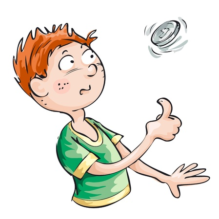 coin toss: A young man wants to take a decision and throws a coin. Illustration