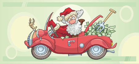 Santa Claus is driving a car full of money.