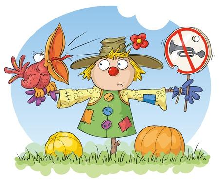 scarecrow: Espantap�jaros con un p�jaro rojo y una se�al de ruido de la prohibici�n.