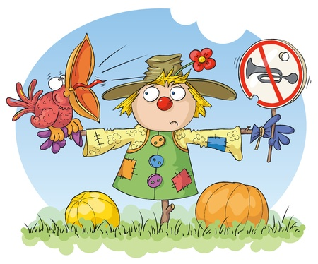 loud noise: Scarecrow with a red bird and a noise prohibition sign. Illustration