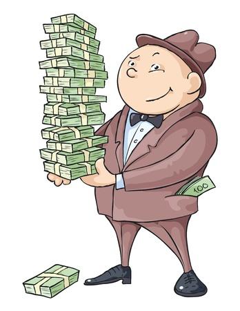 De rijke man met een hoop geld.