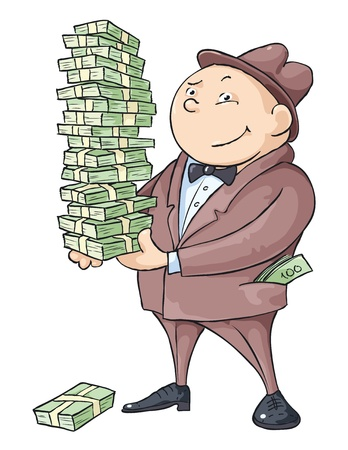cartoon money: The rich man with a bunch of money.