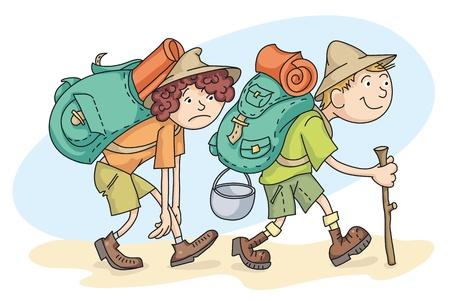 El hombre y la mujer está de excursión con mochilas. Ilustración de vector