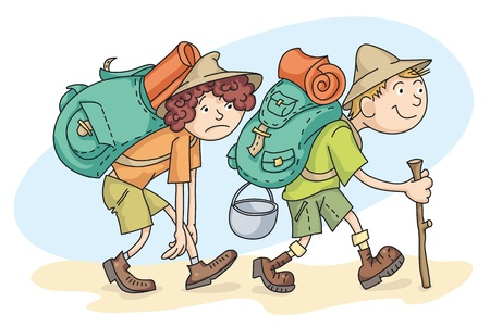 couple hiking: Man and woman are hiking with backpacks. Illustration