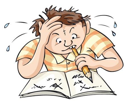 sudando: Un joven trata de resolver una tarea compleja.