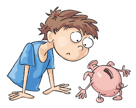 holds: Man looks at the empty pig moneybox. Illustration
