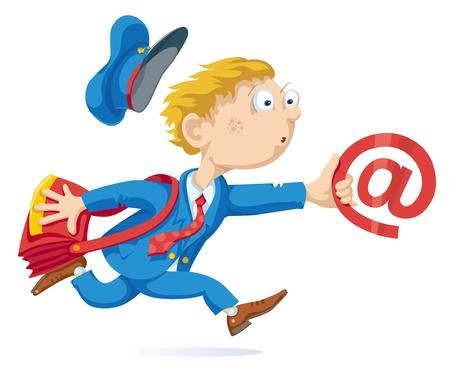 cartero: Ejecuci�n de cartero con la bolsa de correo y el mensaje. Vectores