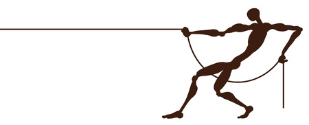 pulling rope: A strong man who pulls the rope. Illustration