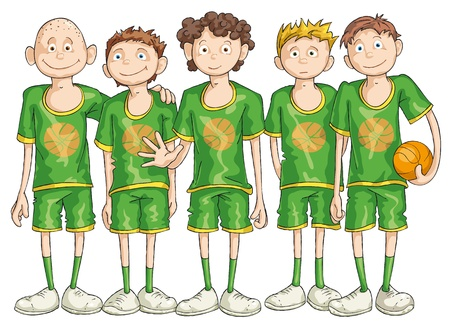Five basketball players with the orange ball. Illustration
