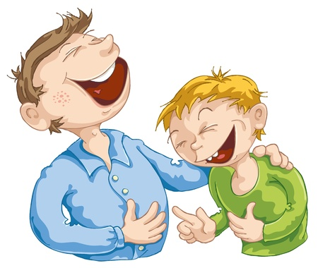 jokes: Father told a funny story to his son. Illustration